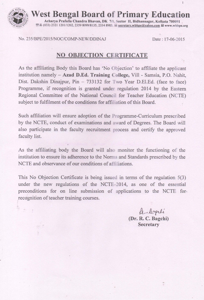 No Objection Certificate – AZAD D.ED TRAINING COLLEGE